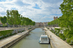 Canal de la Robine in Narbonne Stock Photography