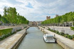 Canal de la Robine in Narbonne Royalty Free Stock Images