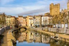 Canal de la Robine in Narbonne, Languedoc-Roussillon Lizenzfreie Stockfotografie