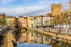 Canal de la Robine in Narbonne, Languedoc-Roussillon Royalty Free Stock Photography