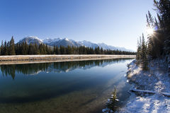 Canal de lac two Jack chez Banff Images libres de droits