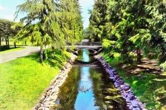 Canal de los pescados en Catherine Park en Tsarskoye Selo ilustración del vector