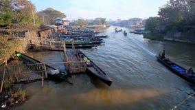 Canal de Nyaungshwe, Myanmar almacen de metraje de vídeo