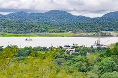 Canal de Panama et lac Gatun, vue aérienne image libre de droits