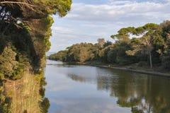 Canal de parque regional de San Rossore, Italia Imagen de archivo