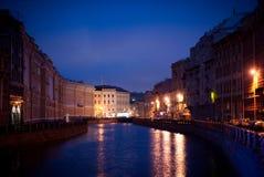 Canal de Petersburgo da noite Imagens de Stock