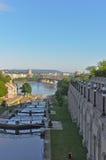 Canal de Rideau que parece del norte a Gatineau Foto de archivo