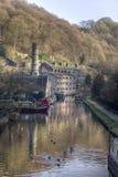 Canal de Rochdale à la passerelle de Hebden Photos libres de droits