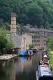 Canal de Rochdale en el puente de Hebden Imágenes de archivo libres de regalías