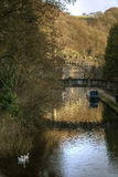 Canal de Rochdale en el puente de Hebden Foto de archivo