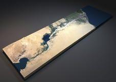 Canal de Suez dans 3d, vue satellite, Egypte Photo libre de droits
