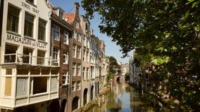 Canal de Utrecht em um dia de verão ensolarado Fotografia de Stock Royalty Free