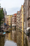 Canal in De Wallen district of Amsterdam Royalty Free Stock Photos