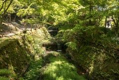 Canal del jardín en el complejo Sanzen-en del templo imagen de archivo libre de regalías