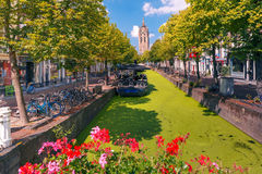 Canal in Delft, South Holland, Netherlands. Royalty Free Stock Photography