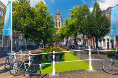 Canal in Delft, South Holland, Netherlands. Stock Image