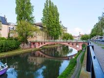 Canal des Faux Remparts also known as Fosse du Faux-Rempart  Str. Canal des Faux Remparts also known as Fosse du Faux-Rempart on a spring day with Pont de la Stock Images