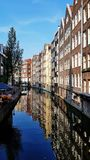 A canal in downtown Amsterdam, the Netherlands royalty free stock image