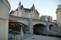 Canal downtown Ottawa Canada. The Nation's Capital, Ottawa's canal and historic building Chateau Laurier Stock Photo