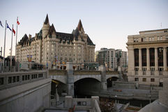 Canal downtown Ottawa Canada 2. The Nation's Capital, Ottawa's canal and historic building Chateau Laurier Stock Photos