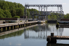 Canal du Centrum - strepy-Bracquegnies royalty-vrije stock afbeelding