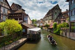 Canal du Logelbach à Colmar Photo stock