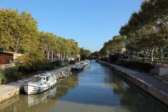 Canal du Midi à Narbonne Photographie stock libre de droits