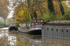 Canal du midi. Barge on canal du midi, near Toulouse, south of France Stock Photo