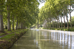 Canal du Midi. A straight part of the Canal du Midi, France Stock Photo