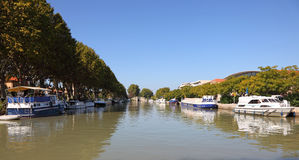 Canal du Midi in Beziers, France. Boats at the Canal du Midi in Beziers, southern France Royalty Free Stock Photo
