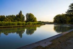 Canal du Midi, Beziers, Frankreich stockbilder