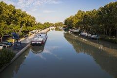 Canal du Midi Beziers, Frankrike Arkivbilder