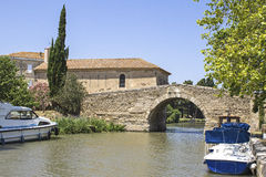 Canal du Midi, with boat. France. Royalty Free Stock Images