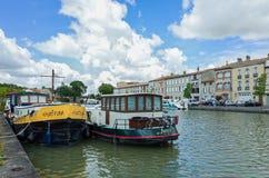 Canal du Midi in Castelnaudary, Frankreich Lizenzfreies Stockfoto