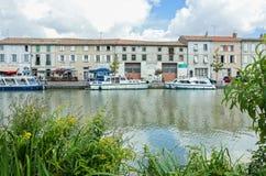 Canal du Midi in Castelnaudary, Frankrijk Stock Foto