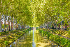 Canal du Midi, France. View of the calm Canal du Midi, Toulouse, France Royalty Free Stock Image