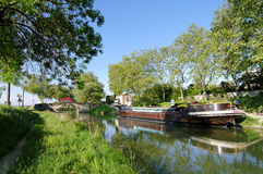 Canal du midi in south of France Royalty Free Stock Images
