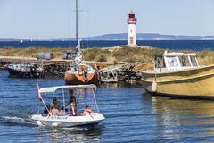 Canal du Midi and Les Onglous lighthouse, Agde, France Stock Photos