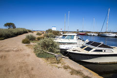 Canal du Midi and Les Onglous lighthouse, Agde, France Stock Image