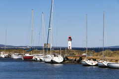 Canal du Midi and Les Onglous lighthouse, Agde, France Royalty Free Stock Photography