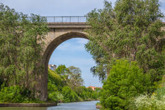 Canal du Midi med bron Royaltyfria Bilder