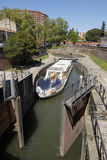 Canal du Midi, ship lock and sightseeing boat. Canal du Midi and sightseeing boat at Toulouse, France. The Canal is a long waterway in Southern France, Connects Royalty Free Stock Image
