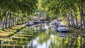 Canal du Midi, waterweg Frankrijk. Stock Afbeeldingen