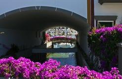 Canal du ¡ n de Puerto de Mogà avec la bouganvillée Photographie stock