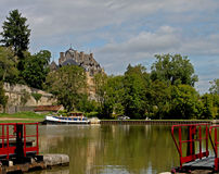 On the canal du Nivernais, velo, Chatillon en Bazois. Stock Photo