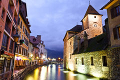 Canal du Thiou, in Annecy, Frankrijk Royalty-vrije Stock Foto