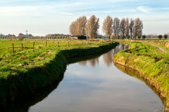 Canal by Dutch farm house Royalty Free Stock Image