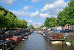Canal in the Dutch town Royalty Free Stock Photos