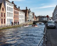 Canal em Bruges foto de stock