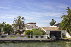 Canal in Empuriabrava Stock Photography